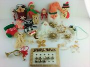 Christmas Ornaments Lot Incl Hand-crafted Wood Metal Fabric Bells ++ Vintage