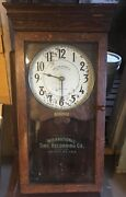 Antique Wall Time Clock International Time Recording Co Endicott Ny Pickup Only