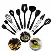 10 Piece Cooking Utensil Set Silicone Kitchen Gadget Tool With Handles Hook Ukes