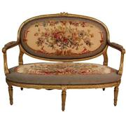 Superb 19th Century Gilded Carved Louis Xvi Aubusson Cameo Back Sofa Settee