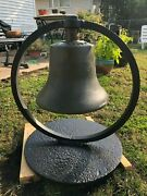 Antique Large Heavy Train Bell With Functioning Clapper 266965 And 280574 Marking