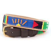 A Tail We Could Wag Handmade Cotton Weave Leather Belt With Solid Brass Buckle