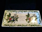 Portmeirion Holly And Ivy 11 7/8 Sandwich Serving Platter/tray England Excellent