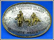 B-k 1975 Solid Sterling Silver Ft All Around Cowboy Team Roping Belt Buckle