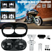 Motorcycle Led Headlight Dual Projector Lamp For Harley Road Glide 2003-2013