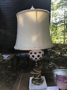 Sandwich Glass Lamp White Red Brass Marble Base