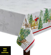 New Dining Harvest Christmas Santaand039s Sleigh Winter Indoor And Outdoor Tablecloth