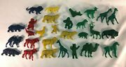 Lot Of Vintage Toy Animals Zoo Circus Red Green Blue Yellow Red