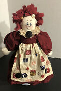 1993 Americana Rag Doll Hair Cloth Fabric Buttons Country Farmhouse By Tradition