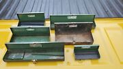 6 Vintage S-k Tools Green Metal Socket Boxes For Ratchets And Sockets
