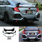 Rear Bumper Protector Lower Strip Abs Fit For Honda Civic 10th Type R 2016-2020