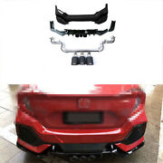 For Honda Civic 16-2020 1.5t Abs Black Rear Bumper Lip Cf 3-outlet Pipe Bodykit