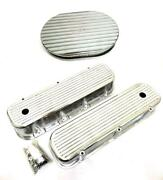 Big Block Chevy Polished Aluminum Tall Finned Valve Covers 12 Oval Air Cleaner
