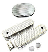 Chevy Polished Aluminum Finned Valve Covers + Breather Pcv And 12 Air Cleaner Bbc