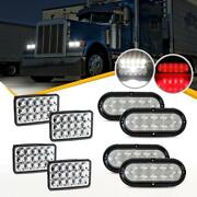 4 Dot Dual Beam 10led Red Stop Tail Light + 6x4 Inch Cree Led Headlight For Rv
