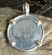 Authentic Danish West Indies Coin Pendant Sailing Ship Sterling Silver