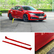 For Honda Civic Type-r 2016-2020 Abs Red Exterior Door Panel Trim Side Skirts