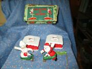 Vintage Commodore Mr. And Mrs. Santa Climbers On House Chimney With Box