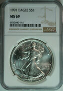 10 1991 American Eagle .999 Pure Silver Dollars / Ngc Ms69
