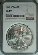 10 1998 Silver American Eagle Dollars / Ngc Ms69