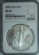10 2000 Silver American Eagle Dollars / Ngc Ms69 / Mint State 69 / Ngc Fresh