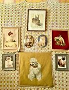9 Vintage Gallery Wall Cats Dog Portrait Painting Prints Rabbit Needlepoint