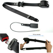 Retractable 3 Point Car Seat Belt Lap And Diagonal Belt With Warning Cable Black