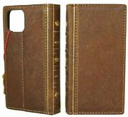 Genuine Tan Leather Case For Apple Iphone 12 Pro Max Wallet Cover Book Bible