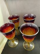 4 Carnival Amberina Glass Wine Goblets 6.5 Excellent Shape
