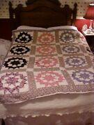 Vintage 1930s Pieced Quilt Compass Star Calico Cotton Feedsack Fabric