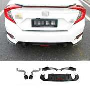 Honeycomb Rear Bumper Lip Diffuser Bodykit With Pipe Abs Cf For Civic 2016-2020