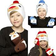 Cute Christmas Beanie Woolly Hat And Mitten Gloves Gift Set Gl901a