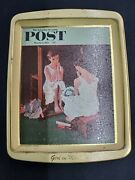 Vintage Saturday Evening Post Norman Rockwell Metal Daher Tray - Lot Of 4