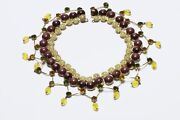 Countess Cissy Zoltowska Cis 1950andrsquos Brown Glass Beads Yellow Crystal Necklace