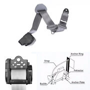 1x Retractable 3 Point Style Auto Car Front Safety Seat Lap Belt Gray Polyester