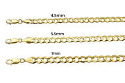 14k Solid Yellow Gold Flat Curb Italian Link Chain Necklace 4.5mm-7mm Sz 18-30