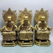14and039and039 Brass Copper China Folk Set Of Three Of The Highest Gods In Taoism Statue