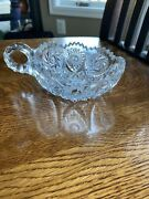 """Vintage Clear Cut Crystal Glass Saw Tooth Relish Candy Celery Dish 5.5"""" X 2.25"""""""
