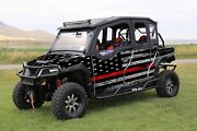 16-current Polaris General 1000 4 Graphic Gloss Wrap Thin Red Line Flag Kit