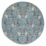 9'4x9'4 Willow And Cypress Tree Design Organic Wool Round Hand Knottedrug G55910