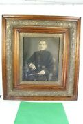 Antique Circa 1870 Indian Wars Charcoal Drawing Officer Sword Cigar Chalk Fine