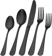 Matte Black Silverware Sets X8, Stainless Steel Flatware For Home And Restaurant
