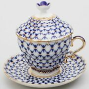 Russian Imperial Lomonosov Porcelain Lidded Cup And Saucer Cobalt Net Gold New.
