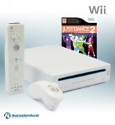 Nintendo Wii - Console White + Just Dance 2 + Official Remote + Equipment Uk