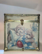Vintage 80s Puppies Poodles Toy Chest Wood Box Trunk
