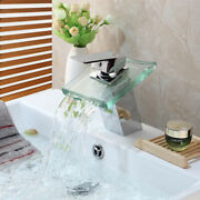 Fa Chrome Bathroom Faucet Tempered Glass Waterfall Spout Deck Mounted Mixer Taps