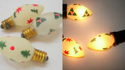 Vintage Painted Christmas Light Bulbs Lot Of 3 Frosted With Trees Stars And Holly