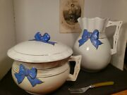 Pair Vintage Stoneware, Blue/white, Chamber Pot Andpitcher, Blue Bow Decoration Vg