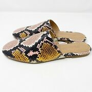 Madewell Cory Mule Flats Womens Size 7 Snake Embossed Leather Brown Nwob 110