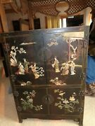 Vintage Chinese Black Lacquer Hand Painted Hand Carved Jadejadeite Cabinet L@@k